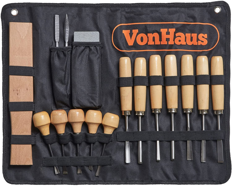 VonHaus 16pc Wood Carving Tool Set with Wood Knives