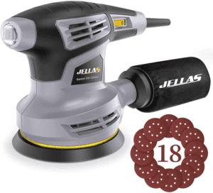 Jellas 5-Inch Random Orbital Sander with 18Pcs Sandpapers